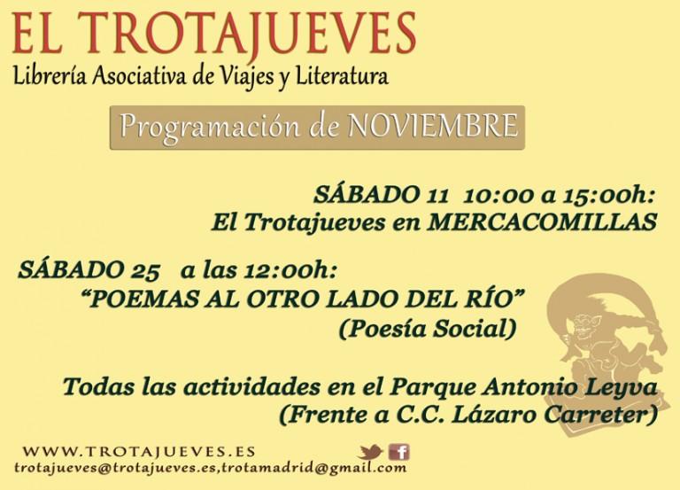 Programación de la librería asociativa El TROTAJUEVES del mes en curso.